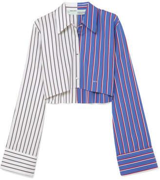 Cropped Striped Cotton-poplin Shirt