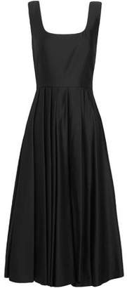Awake Pleated Satin-Jersey Dress
