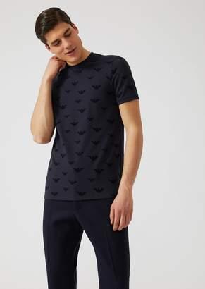 Emporio Armani Stretch Cotton Pique T-Shirt With All-Over Logo