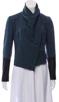 Helmut Lang Leather-Trimmed Mock Neck Jacket