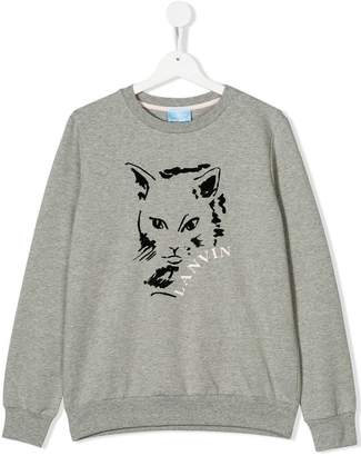 Lanvin Enfant TEEN cat-print sweatshirt