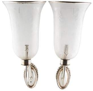 Pair of Etched Glass Hurricane Wall Sconces