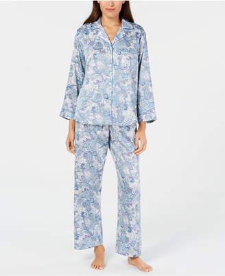Miss Elaine Paisley-Print Pajama Set