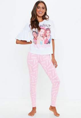 Missguided White Clueless Legging Pyjama Set