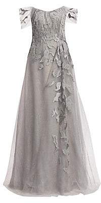 Rene Ruiz Collection Women's Off-the-Shoulder Embroidery Gown