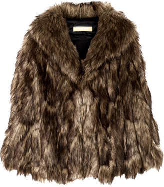 Michael Kors Faux Fur Cape - Brown