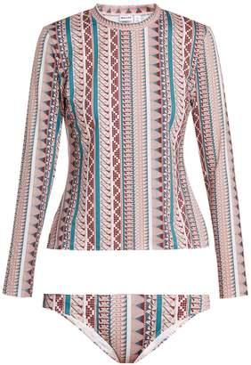 THORSUN Lillie geometric-print rash-guard bikini