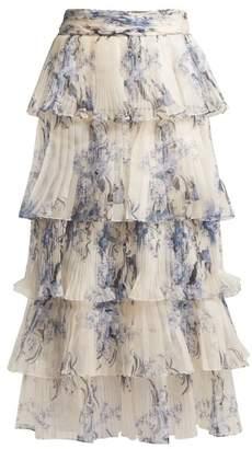 Johanna Ortiz Journey Of The Soul Floral Print Silk Skirt - Womens - White Multi