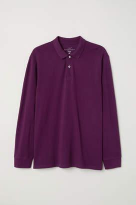 H&M Long-sleeved Polo Shirt - Purple