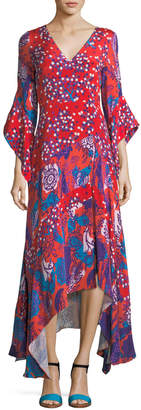 Peter Pilotto V-Neck Mixed-Media Flare-Sleeve Silk Dress