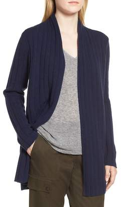 Nordstrom Signature Marl Cashmere Ribbed Open Cardigan