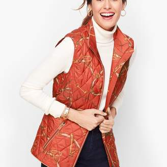 Talbots Equestrian Print Quilted Vest