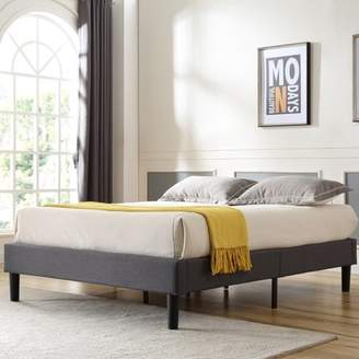 Modern Sleep Claridge Upholstered Platform Bed | Metal Frame with Wood Slat Support | Grey, Multiple Sizes