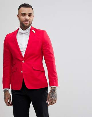 Gianni Feraud Wedding Linen Slim Fit Jacket With Cream Flower Lapel Pin