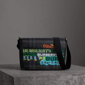 Burberry Large Logo Print Messenger Bag, Grey