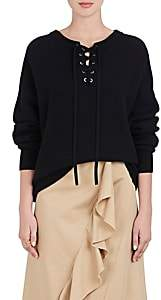 Robert Rodriguez WOMEN'S MERINO WOOL-CASHMERE LACE-UP OVERSIZED SWEATER - BLACK SIZE M