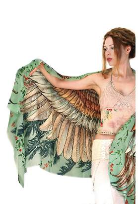 Shovava Delicately hand-painted and digitally printed Art of Wide-Spread Vintage Shawl, Scarf