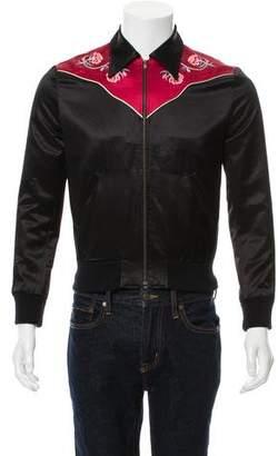 Saint Laurent 2016 Floral-Embroidered Bomber Jacket