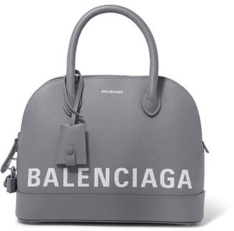 Balenciaga Ville Small Printed Textured-leather Tote - Gray