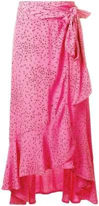 Ganni floral ruffled wrap skirt
