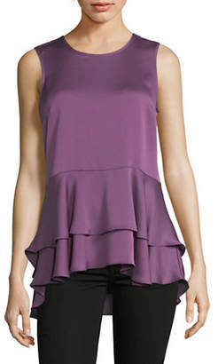 Vince Camuto Sleeveless Tiered Hammer Satin Top