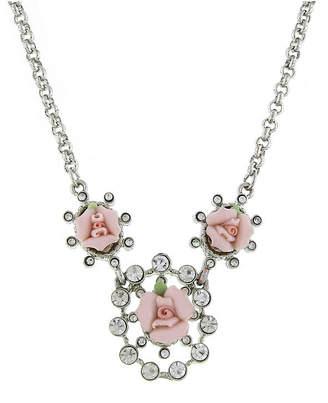 "Silver-Tone Crystal and Pink Porcelain Rose Necklace 16"" Adjustable"