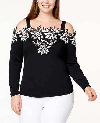 INC International Concepts I.n.c. Plus Size Appliqued Off-The-Shoulder Sweater, Created for Macy's