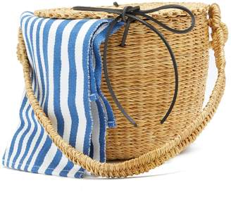 Muun Lou striped-canvas and woven-straw bucket bag