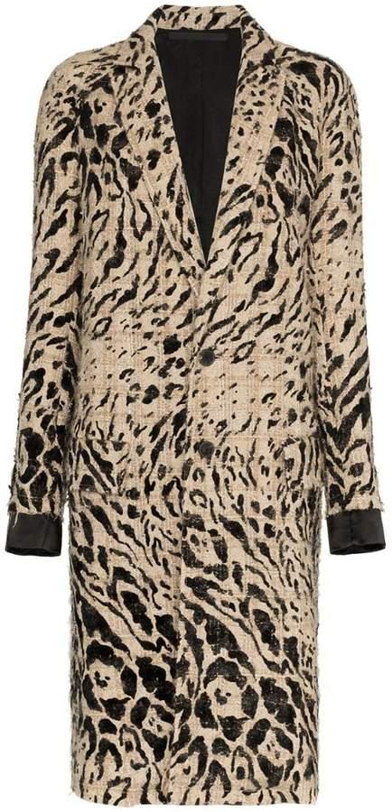 animal print wool coat