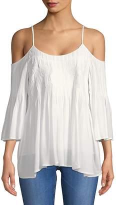 Daniel Rainn Women's Cold-Shoulder Bell-Sleeve Top