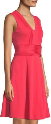 Eliza J Pintucked V-Neck Fit & Flare Dress