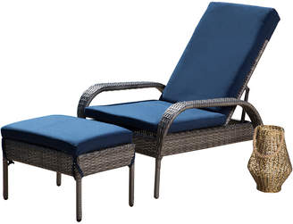 Abbyson Living Newport Outdoor Wicker Patio Chaise & Ottoman With Cushion
