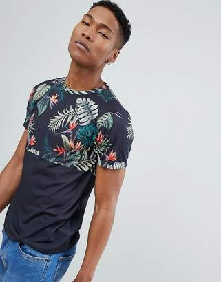 Burton Menswear T-Shirt With Palm Block Print In Black