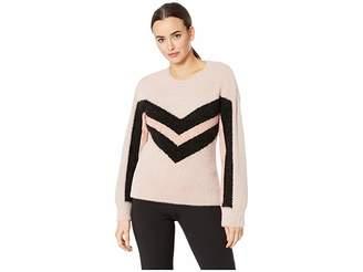 Vince Camuto Long Sleeve Tinsel Crew Neck Chevron Sweater