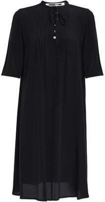 McQ Crystal-Embellished Pintucked Silk Crepe De Chine Mini Dress