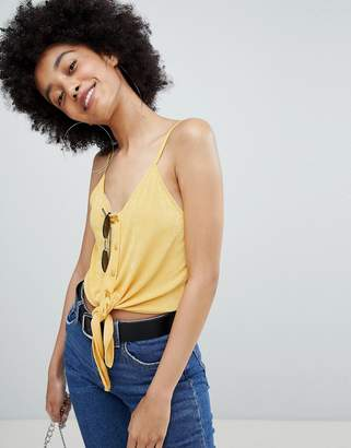 Bershka Tie Front Cami In Yellow