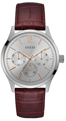Guess W1041G1 Silvertone Croc-Embossed Leather Watch