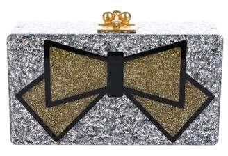 Edie Parker Glitter Bow-Accented Jean Clutch