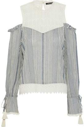 Love Sam Okan Cold-Shoulder Crochet-Paneled Striped Cotton-Gauze Blouse