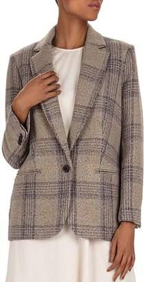 BA&SH Leto Plaid Virgin Wool Blazer