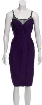 Burberry Silk Pleated Dress Purple Silk Pleated Dress