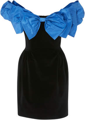Isa Arfen Bow-Detailed Taffeta And Velvet Mini Dress