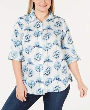 Charter Club Plus Size Linen Floral Roll-Tab Button-Up Shirt, Created for Macy's