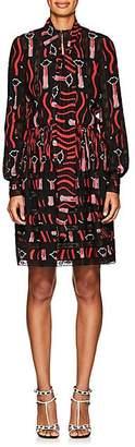 Valentino WOMEN'S LIPSTICK-PRINT SILK SHIRTDRESS - LIPSTICK BLACK SIZE 2