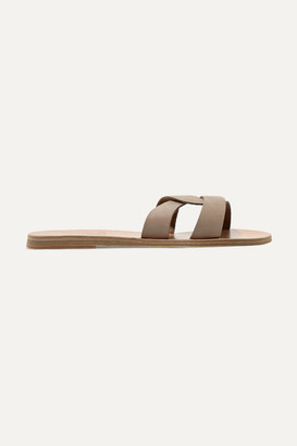 Ancient Greek Sandals Desmos Cutout Nubuck Slides - Taupe