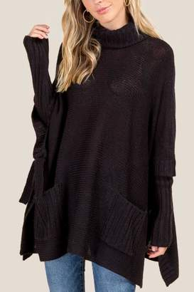 francesca's Regina Long Sleeve Cowl Poncho - Black
