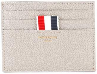 Thom Browne Card Holder With Note Compartment In Grey Pebble Grain