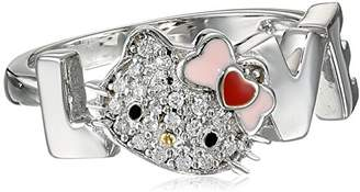 Hello Kitty Sterling Heart Bow Swarovski Crystal Face Love Ring