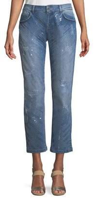Escada Five-Pocket Straight-Leg Jeans w/ Sequin Detailing