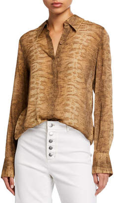 Lafayette 148 New York Julianne City Snake-Print Button-Down Blouse